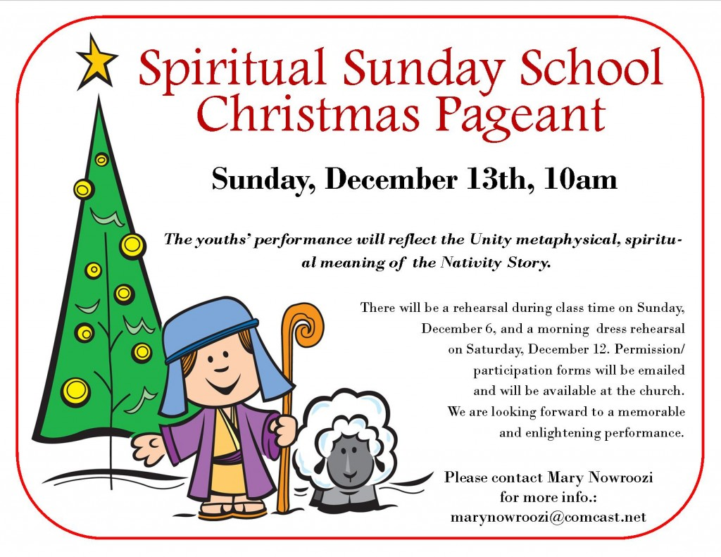 Spiritual Sunday School Christmas Pageant | Unity of Fox ...